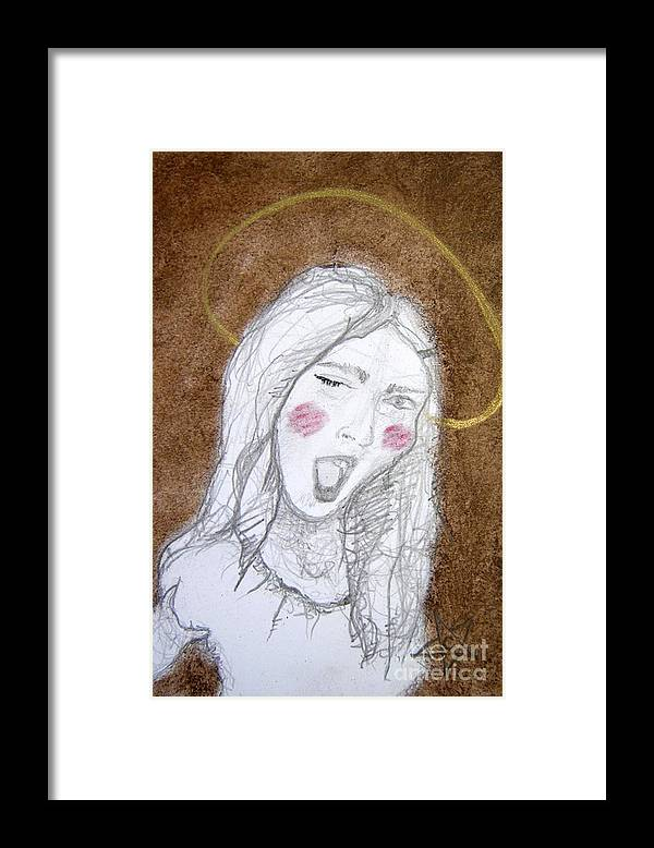 Angel Framed Print featuring the drawing Pandora Opened The Box - ...wink...wink by Chrissa Arazny- Nordquist