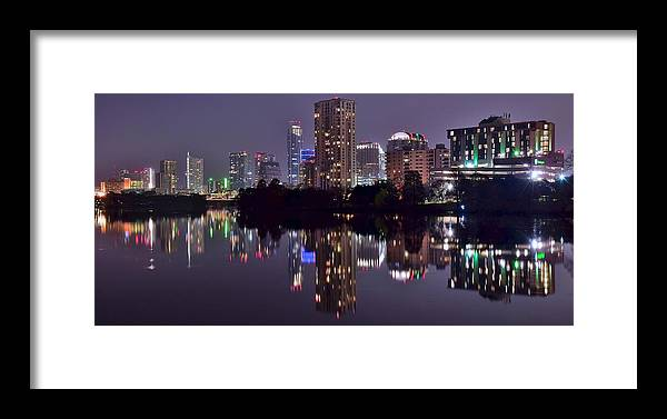 Austin Framed Print featuring the photograph Pano Of Austin by Frozen in Time Fine Art Photography