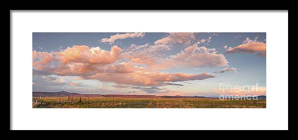 New Framed Print featuring the photograph Panorama Of Twilight Clouds Over Tetilla Peak Recreation Area - Cochiti Lake New Mexico by Silvio Ligutti