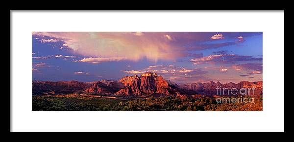 North America Framed Print featuring the photograph Panorama West Temple At Sunset Zion Natonal Park by Dave Welling
