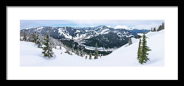 Mountain Framed Print featuring the photograph Panoramic Mountain Top View Of Popular Washington Resort by Open Range