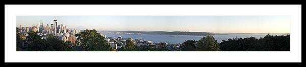 Panoramic Framed Print featuring the photograph Panoramic of Seattle by Larry Keahey