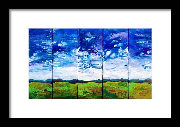 Sold!! Pentaptych Framed Print featuring the painting Panoramic Stormy Skies by Ivy Stevens-Gupta