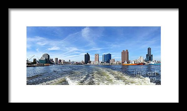 Harbor Framed Print featuring the photograph Panoramic View Of Kaohsiung City Waterfront by Yali Shi