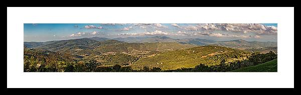 Blue Framed Print featuring the photograph Panoramic View Of Umbrian Hills In Italy Taken From Preggio by Jon Ingall