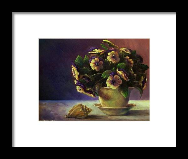 Shell Framed Print featuring the painting Pansies And Celadon by Ruth Stromswold