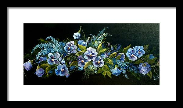 Floral Framed Print featuring the painting Pansies In Blue On Black by Patricia Rachidi