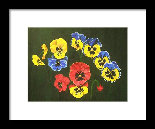 Pansy Flowers Framed Print featuring the painting Pansy Lions Too by Brandy House