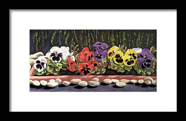 Pansy Framed Print featuring the painting Pansy Palette by Vanda Luddy