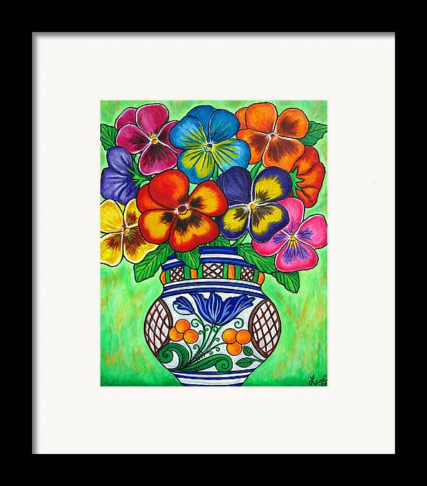 Flower Framed Print featuring the painting Pansy Parade by Lisa Lorenz