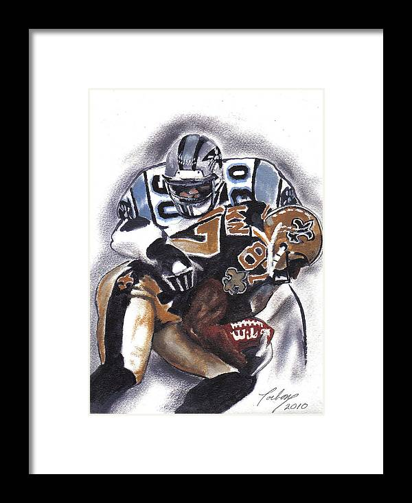Oil Paintings Framed Print featuring the painting Panthers Vs Saints by Torben Gray