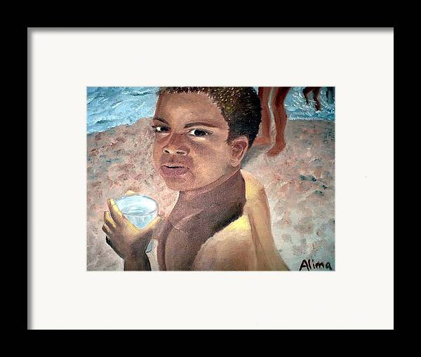 Portrait Framed Print featuring the painting Papa At The Beach by Alima Newton