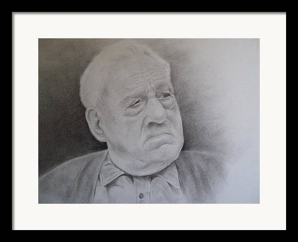 Portrait Framed Print featuring the drawing Papa Schupp by George Valdez