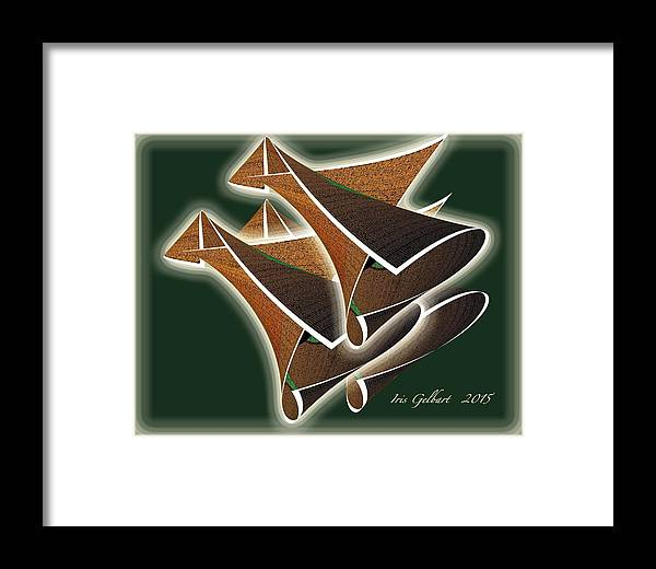 Abstract Framed Print featuring the digital art Paper Horns by Iris Gelbart