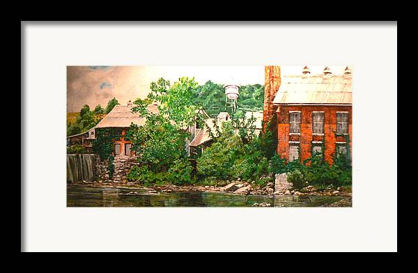 Landscape Framed Print featuring the painting Paper Mill by Thomas Akers