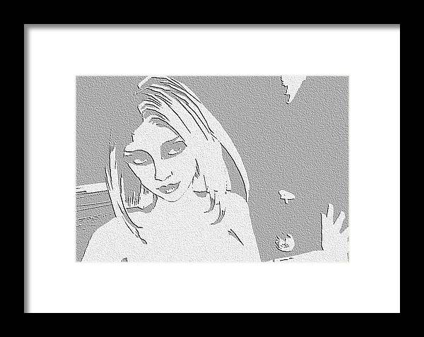 Digital Art Framed Print featuring the digital art Paper Raven by Margie Byrne