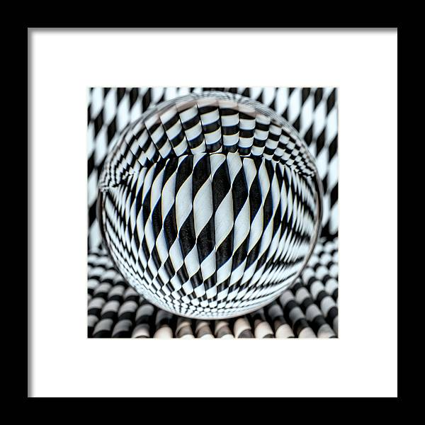 Black And White Framed Print featuring the photograph Paper Straw Patterns by Sandi Kroll