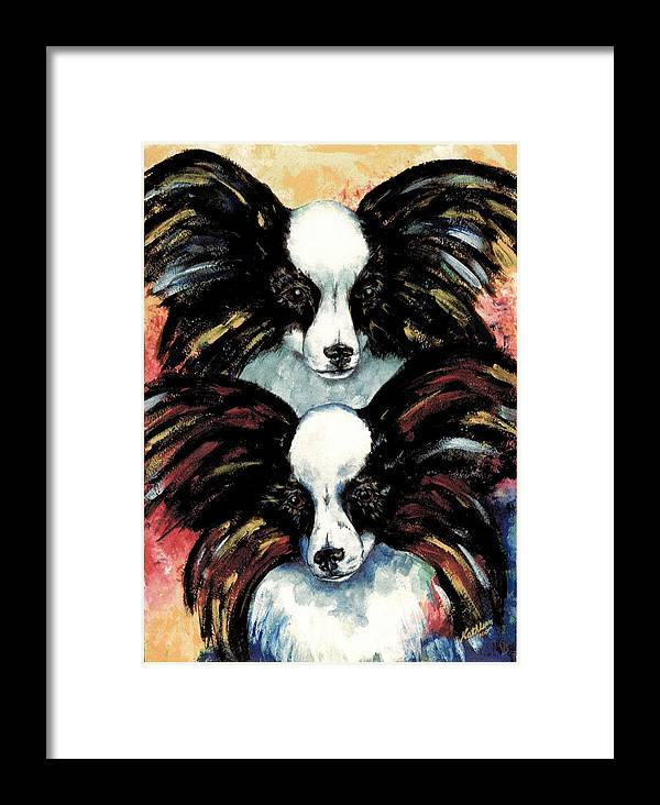Papillon Framed Print featuring the painting Papillon De Mardi Gras by Kathleen Sepulveda