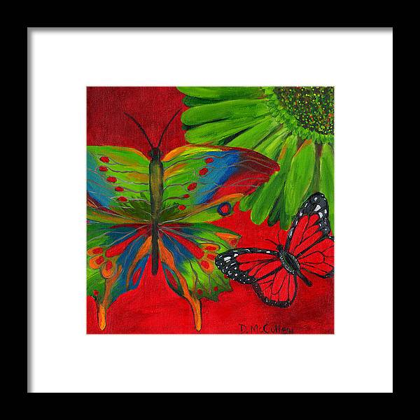 Butterfly Framed Print featuring the painting Papillon Rouge by Debbie McCulley