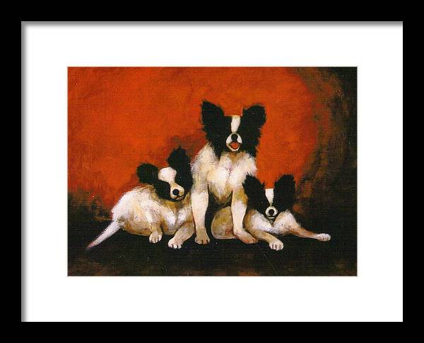 Three Dogs Framed Print featuring the painting Papillons by Christine McGinnis