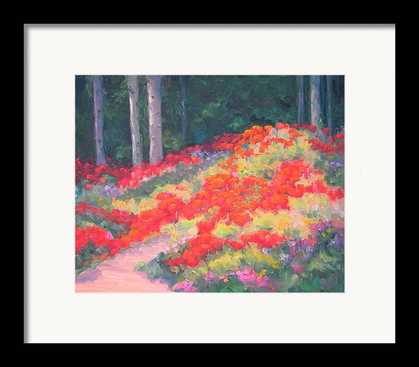 Poppies Framed Print featuring the painting Parade Of The Poppies by Bunny Oliver
