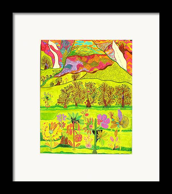 Garden Framed Print featuring the drawing Paradise by Eric Devan