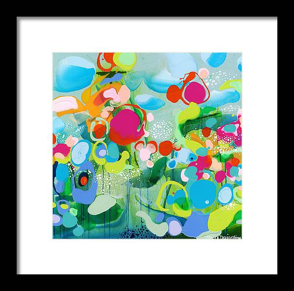 Abstract Framed Print featuring the painting Paradise Outer Limits by Claire Desjardins
