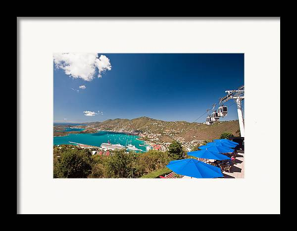 Aerial Tramway Framed Print featuring the photograph Paradise Point View Of Charlotte Amalie Saint Thomas Us Virgin Islands by George Oze
