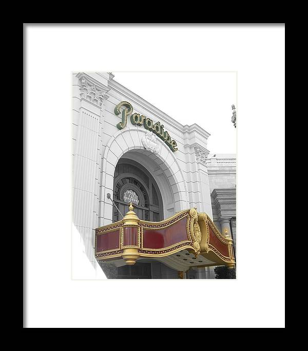 Theatre Framed Print featuring the photograph Paradisetheatre by Audrey Venute