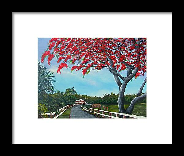 Puerto Rico Framed Print featuring the painting Paraiso by Gloria E Barreto-Rodriguez