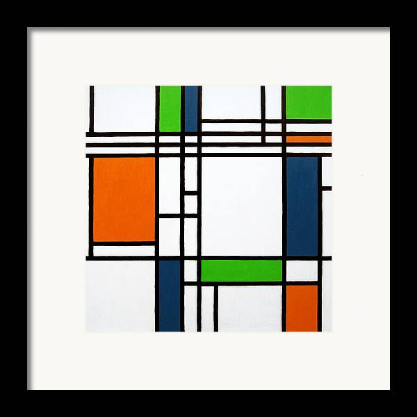 Squares Framed Print featuring the painting Parallel Lines Composition With Blue Green And Orange In Opposition by Oliver Johnston