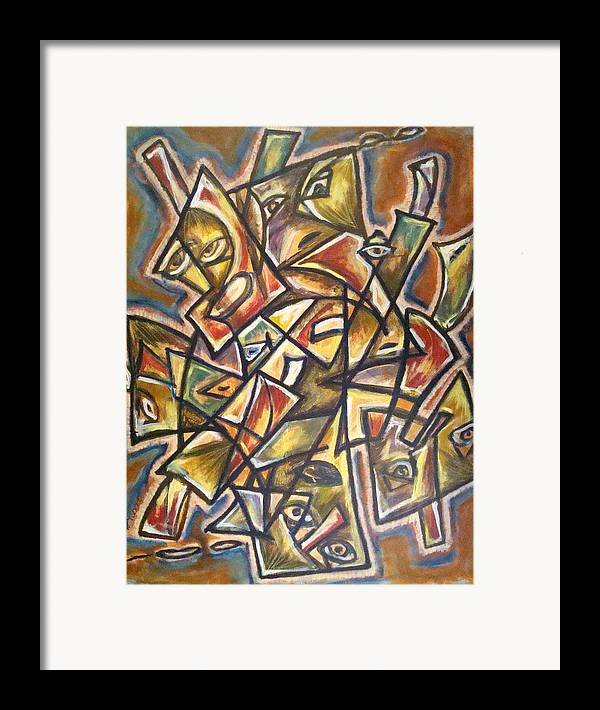 Abstract Faces Framed Print featuring the painting Paralleled Gravity by W Todd Durrance