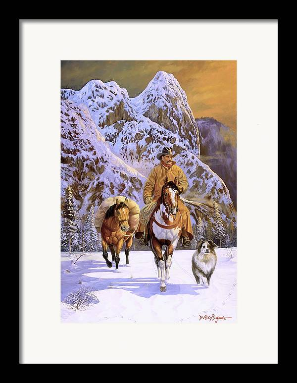 Cowboy Framed Print featuring the painting Pardners by Howard Dubois