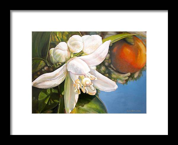 Floral Painting Framed Print featuring the painting Parfum D by Muriel Dolemieux