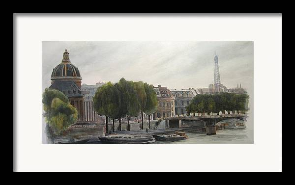 Paris Framed Print featuring the painting Paris Across The Seine by Victoria Heryet