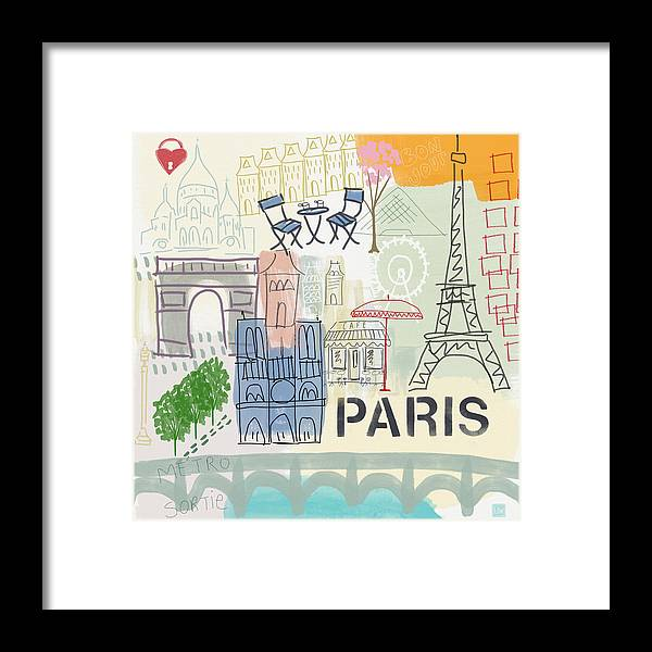 Paris Framed Print featuring the painting Paris Cityscape- Art By Linda Woods by Linda Woods