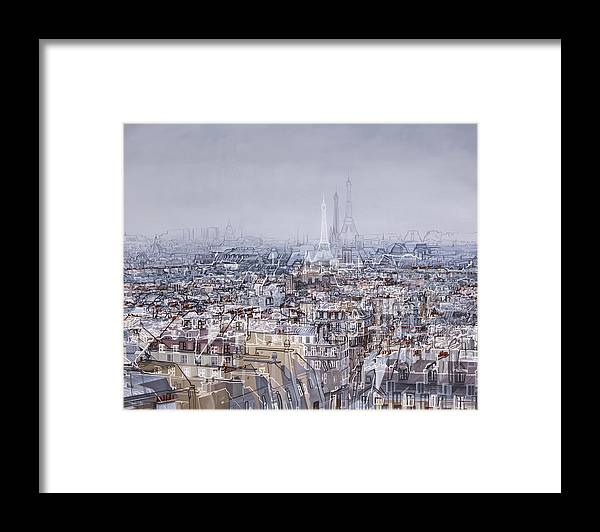 Framed Print featuring the mixed media Paris Et Sa Dame De Fer by Mondot Bruno