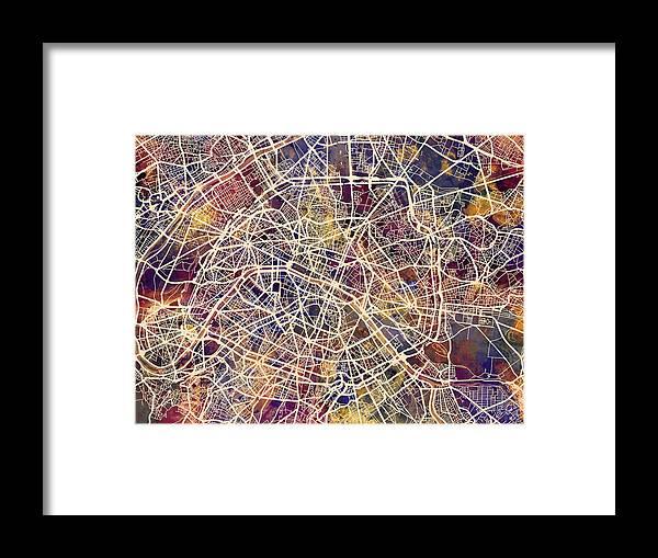 Paris Framed Print featuring the digital art Paris France City Street Map by Michael Tompsett