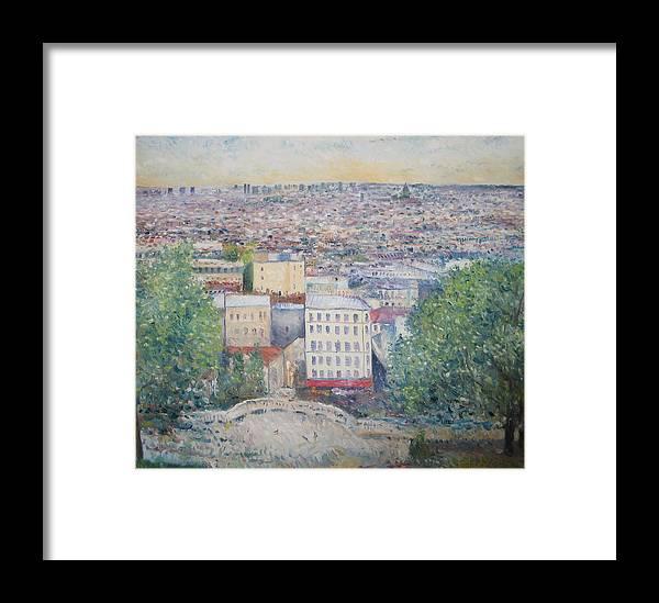 Montmartre Paris Framed Print featuring the painting Paris From The Basilique Du Sacre Coeur Montmartre France 2003 by Enver Larney