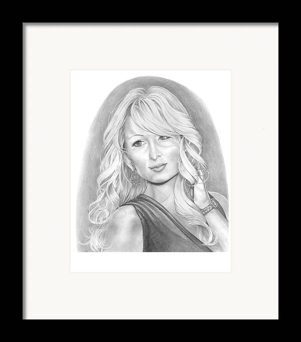 Portrait Framed Print featuring the drawing Paris Hilton by Murphy Elliott