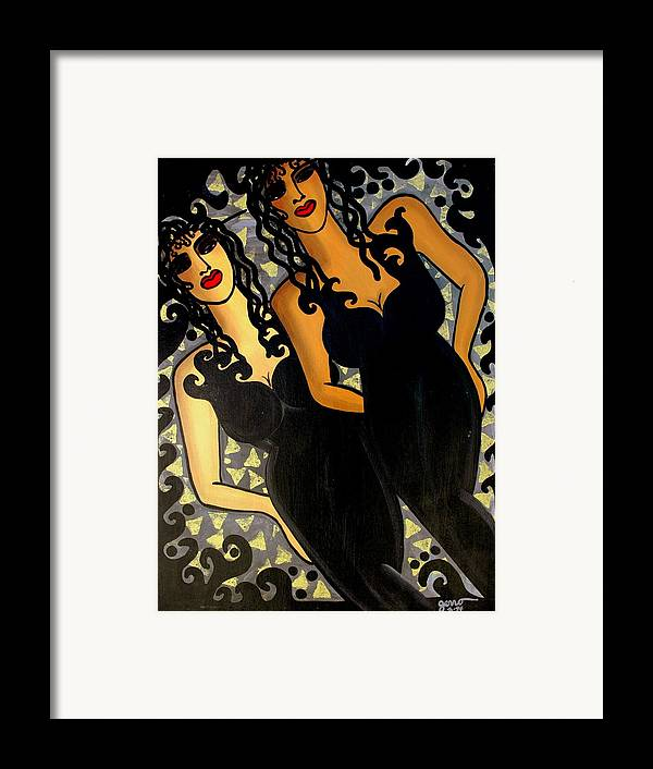 Figures Artwork Framed Print featuring the painting Paris Nights by Helen Gerro