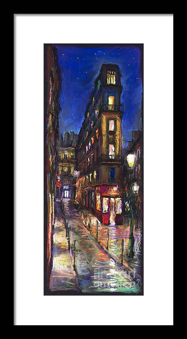 Landscape Framed Print featuring the painting Paris Old Street by Yuriy Shevchuk