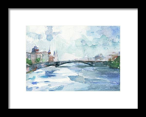Paris Framed Print featuring the painting Paris Seine Shades Of Blue by Beverly Brown Prints