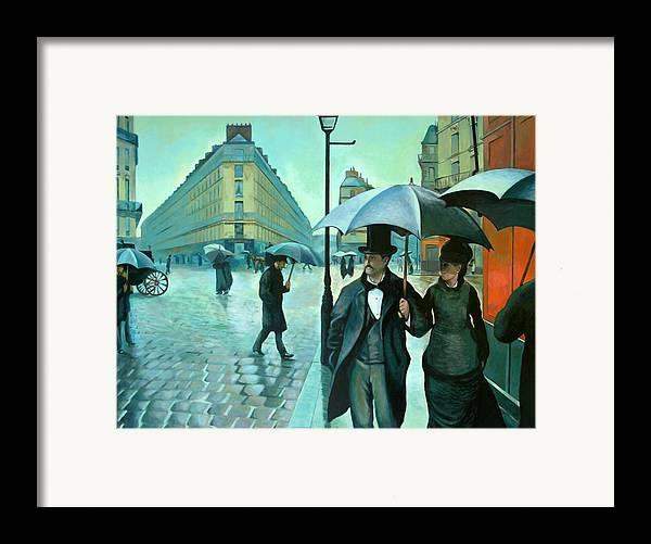 Rain Framed Print featuring the painting Paris Street Rainy Day by Jose Roldan Rendon