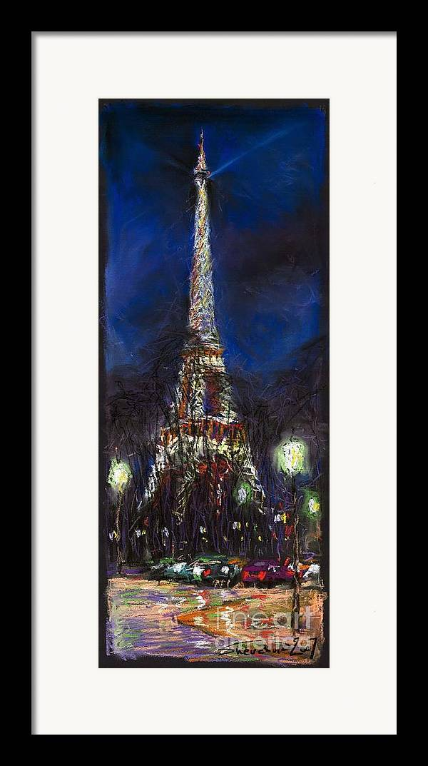 Pastel Framed Print featuring the painting Paris Tour Eiffel by Yuriy Shevchuk