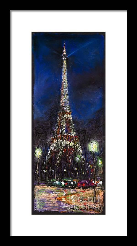 Pastel Framed Print featuring the painting Paris Tour Eiffel by Yuriy Shevchuk