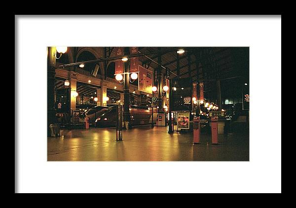 Paris Framed Print featuring the photograph Paris Train Station At Night by Gosta Eger