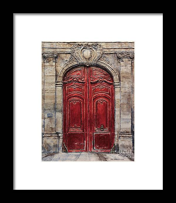 Doors Framed Print featuring the painting Parisian Door No.49 by Joey Agbayani