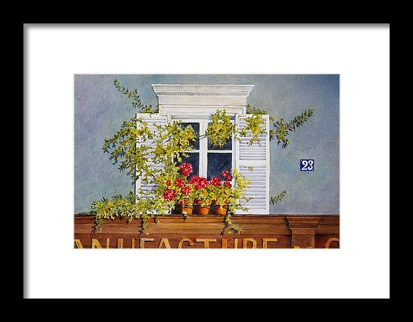 France Framed Print featuring the painting Parisian Window by Mary Ellen Mueller Legault