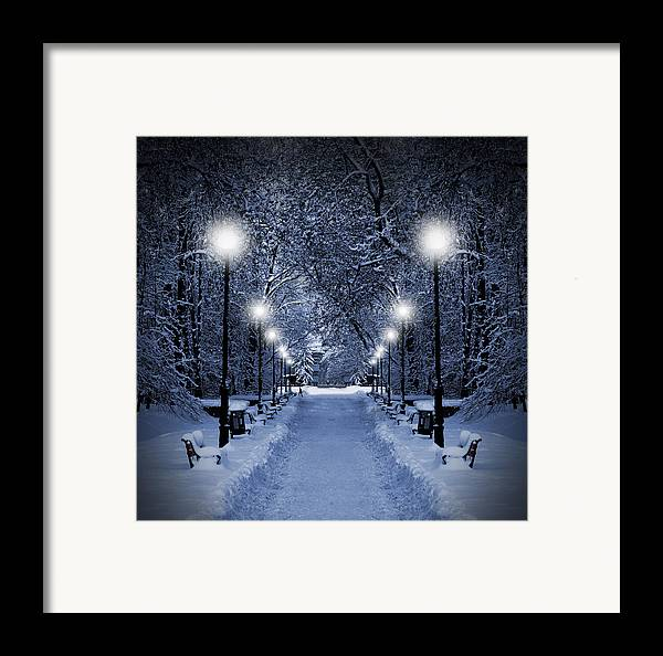 Beautiful Framed Print featuring the photograph Park At Christmas by Jaroslaw Grudzinski
